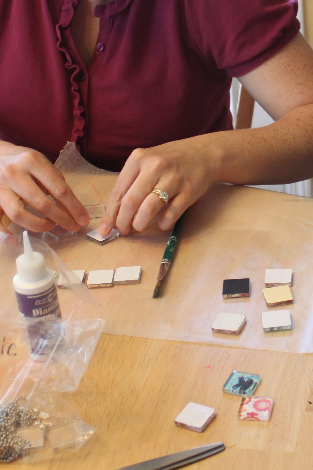 Glass tile pendants sugar bee crafts tutorial aloadofball Image collections