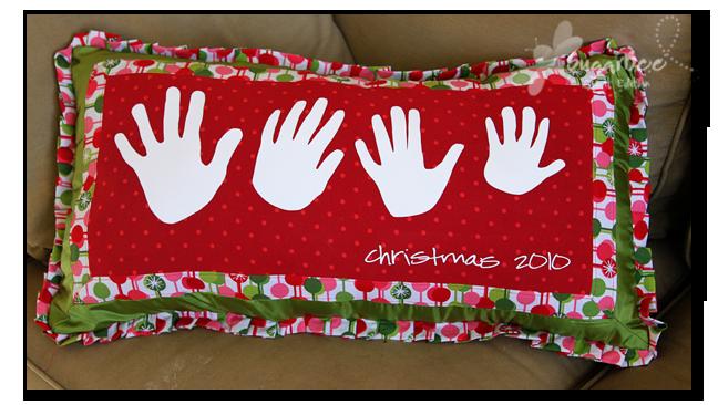Handprint holiday pillow sugar bee crafts