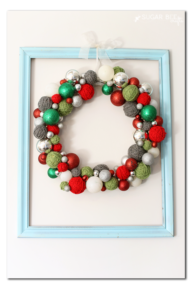yarn ball ornament wreath
