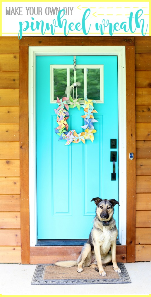 make a pinwheel wreath for the front door