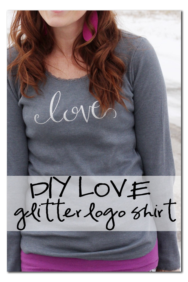 diy love logo glitter vinyl shirt