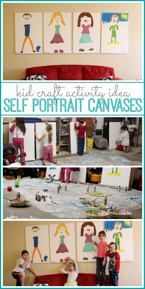 kid craft activity idea - self portrait canvases - sugar bee crafts