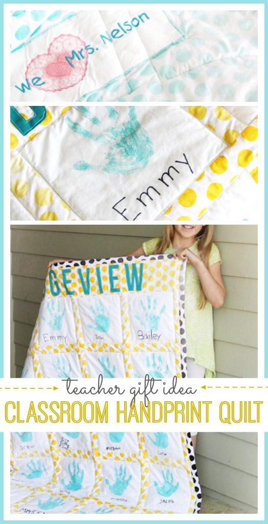 teacher appreciation gift idea handprint quilt