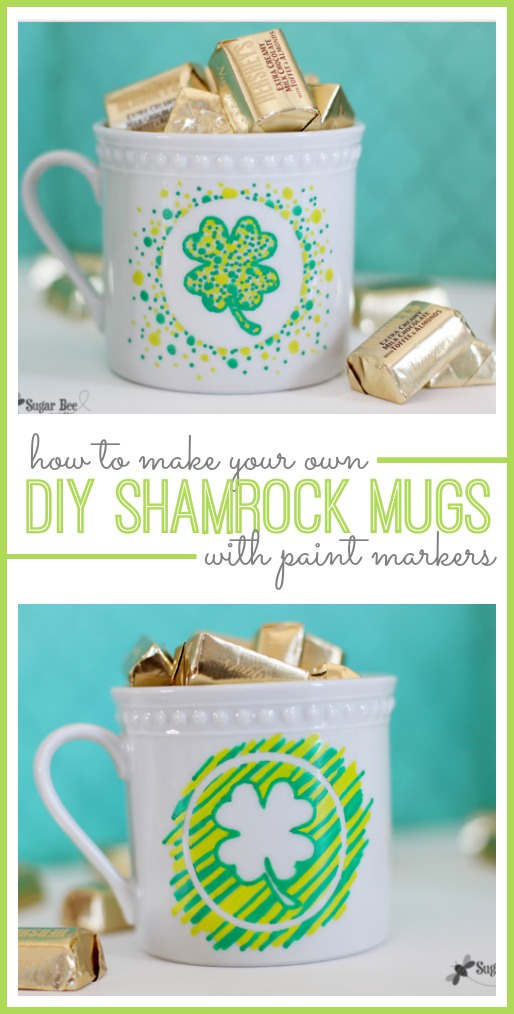 diy shamrock mugs