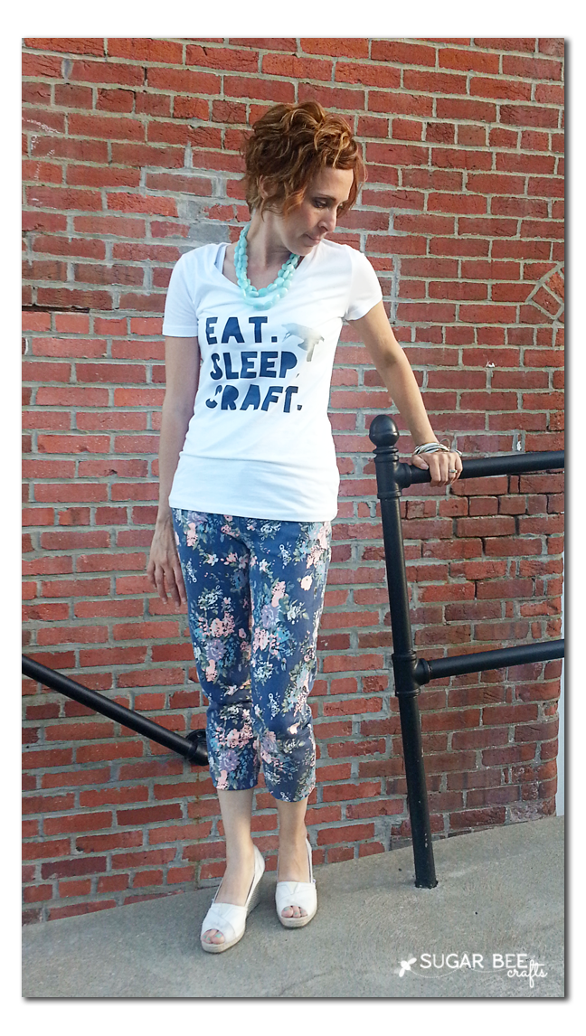 floral jeans, eat sleep craft
