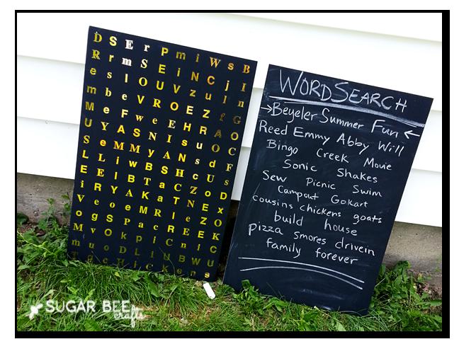 foam board chalkboard word search