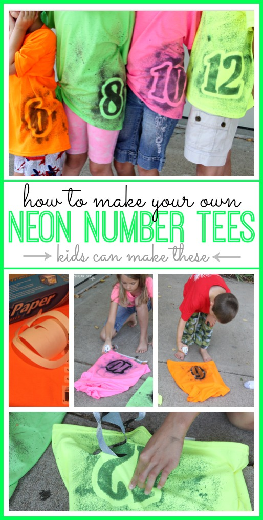 diy neon number tshirt