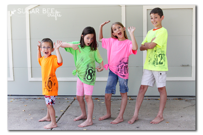 neon number diy tshirt