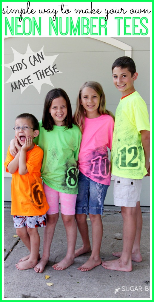 neon number tee simple diy make your own