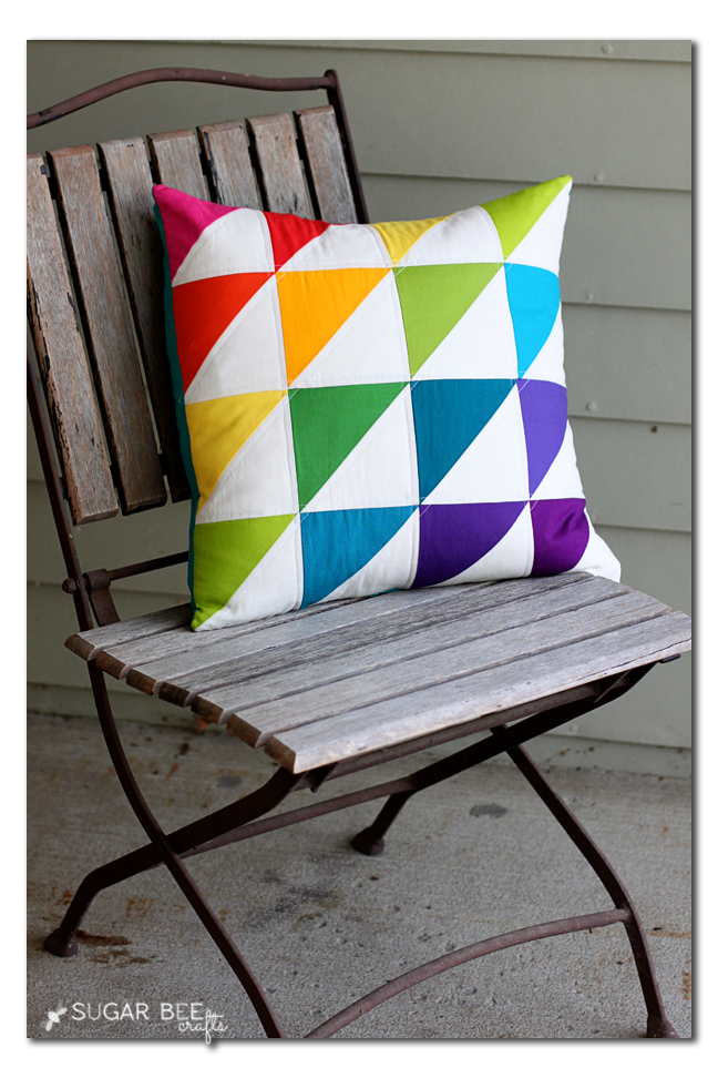 rainbow hst pillow triangle
