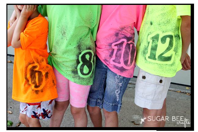 sprayed diy number shirts