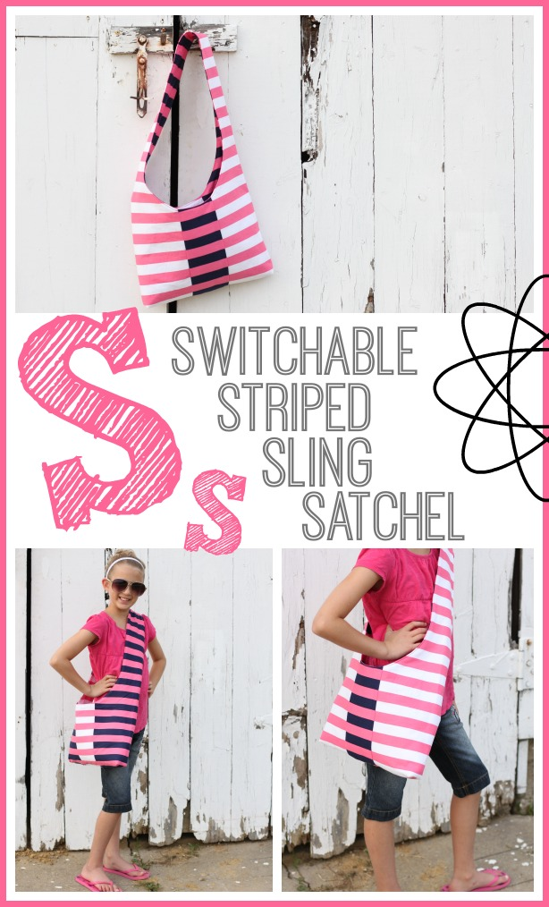 switchable striped sling satchel