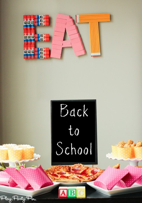 Simple DIY back to school decoration idea using craft letters and extra school supplies
