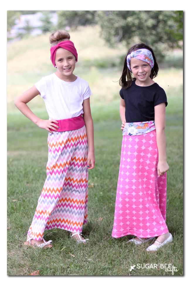 girls learn to sew maxi skirts