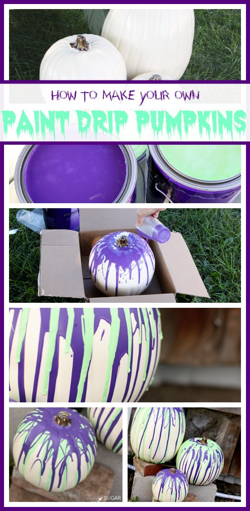 make paint drip pumpkins
