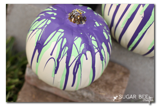 paint drip pumpkins purple green