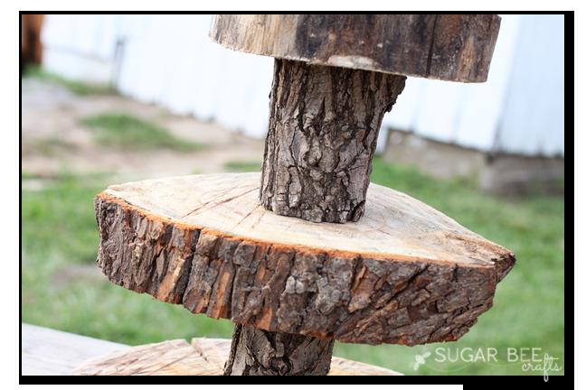 wood log cupcake stand