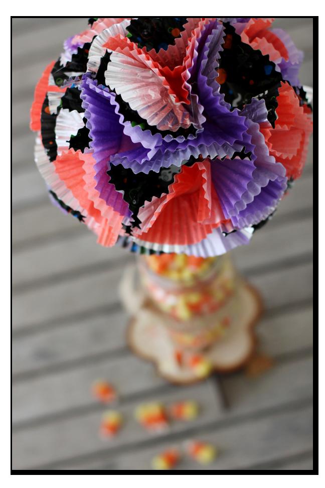 cupcake liner topiary top view