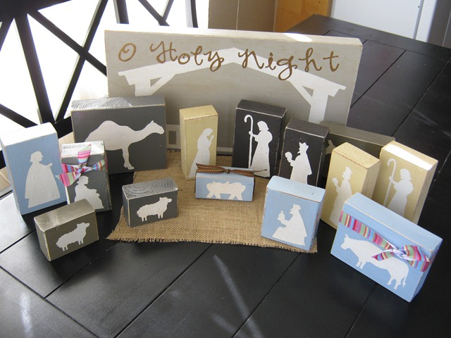 Diy nativity projects sugar bee crafts nativity diy wood blocks solutioingenieria Choice Image