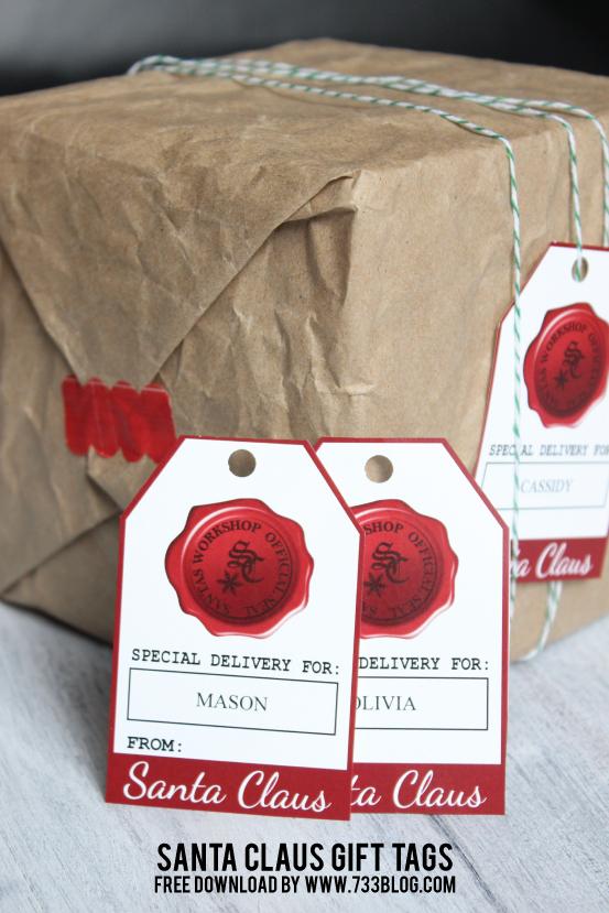 Free Custom Santa Claus Gift Tags by @733blog
