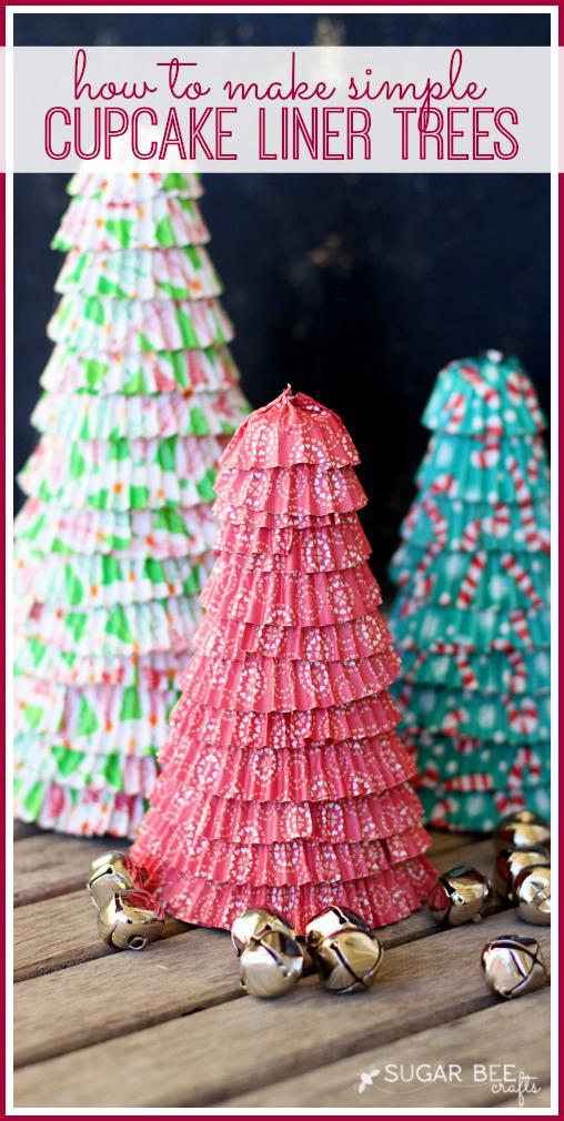 holiday cupcake liner tree craft