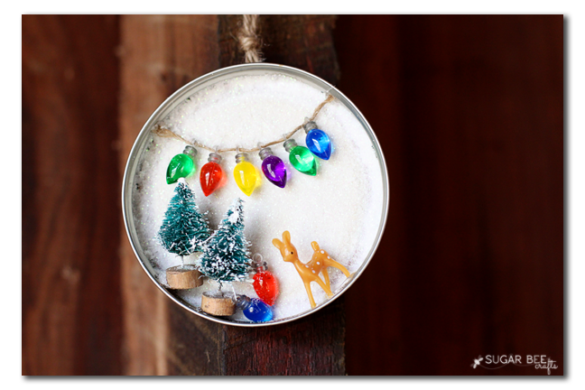 mason jar lid winter scene