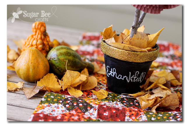 thankful chalboard gold glitter pot