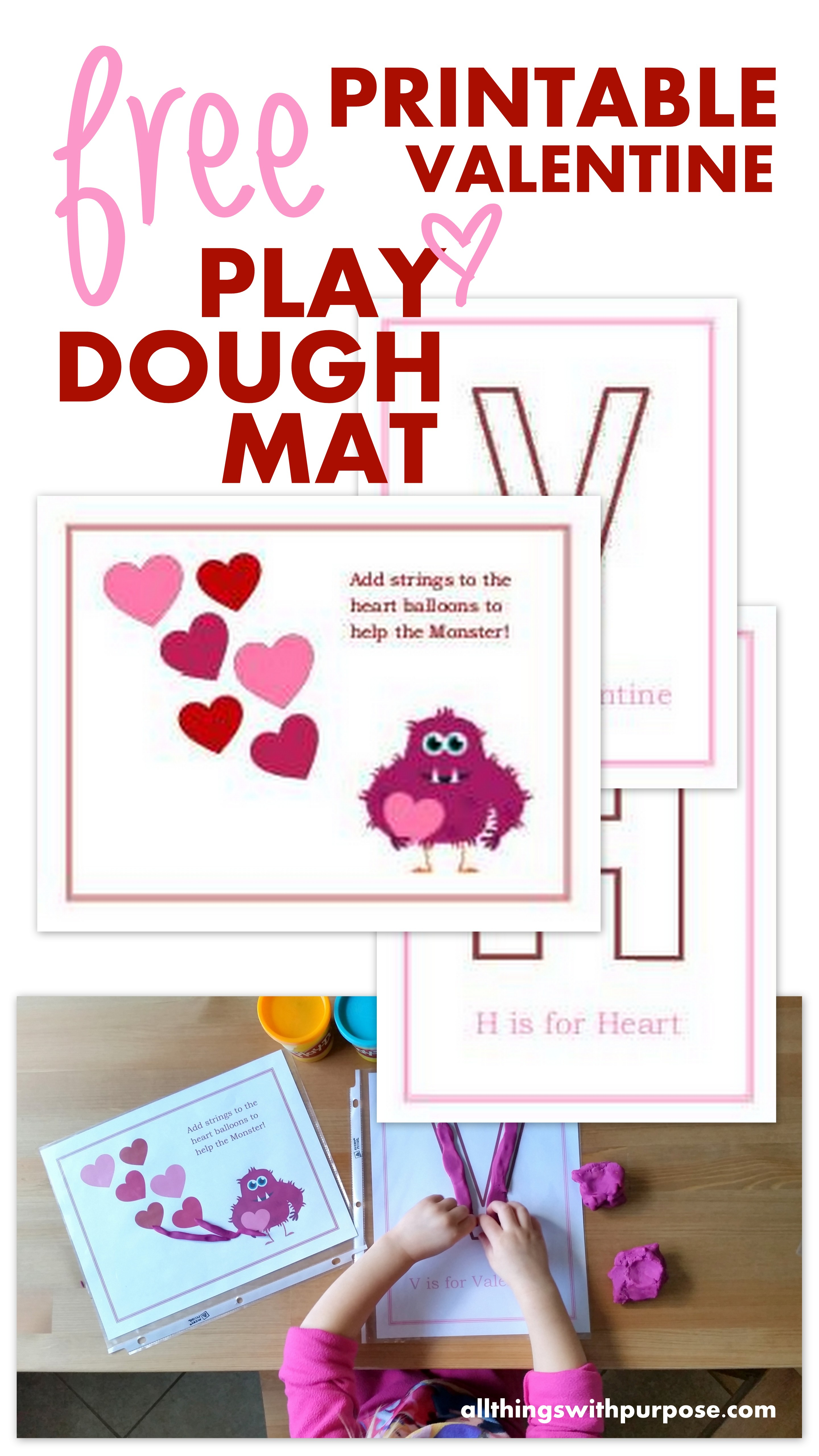 graphic about Play Dough Valentine Printable identified as Valentine Perform Dough Mats