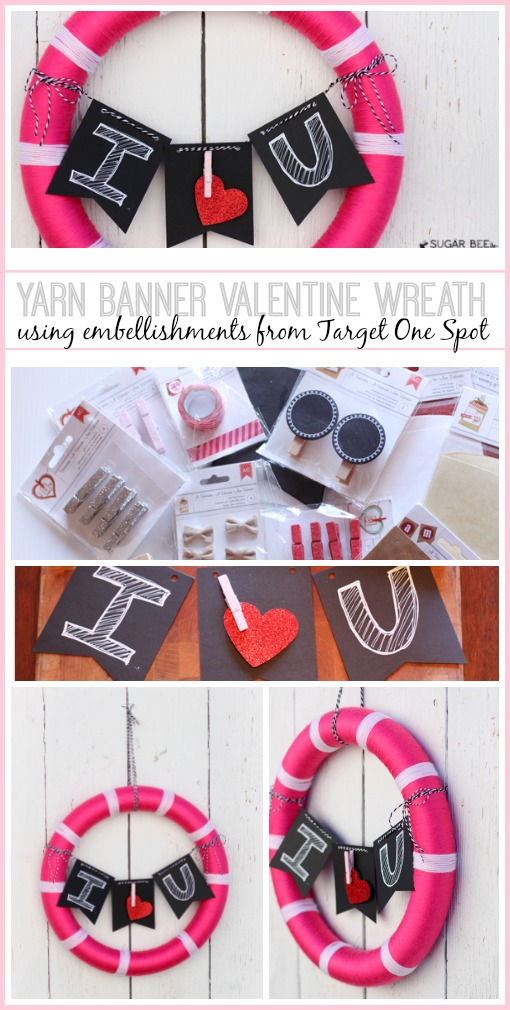 Yarn Banner Valentine Wreath