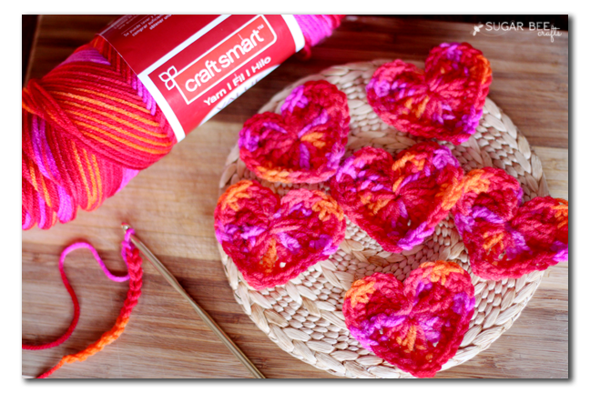 yarn crochet hearts
