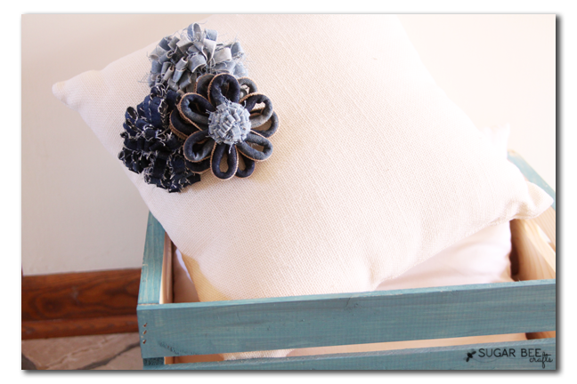 denim flowers pillow