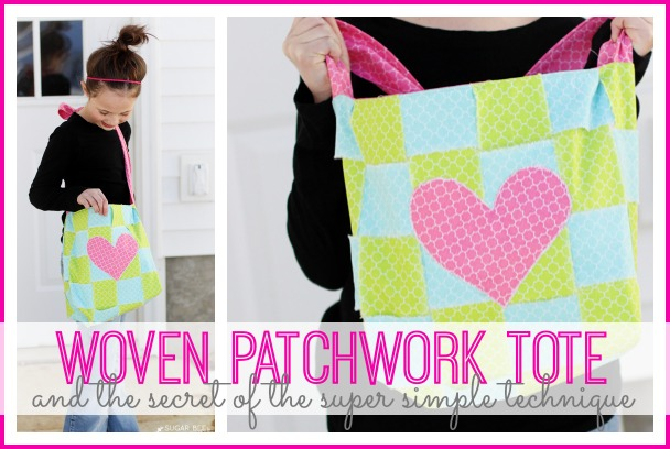 woven patchwork tote