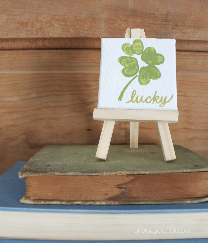 Lucky-Shamrock-Mini-Canvas-on-easel-Made-with-fingerprints-OneKriegerChick.com_