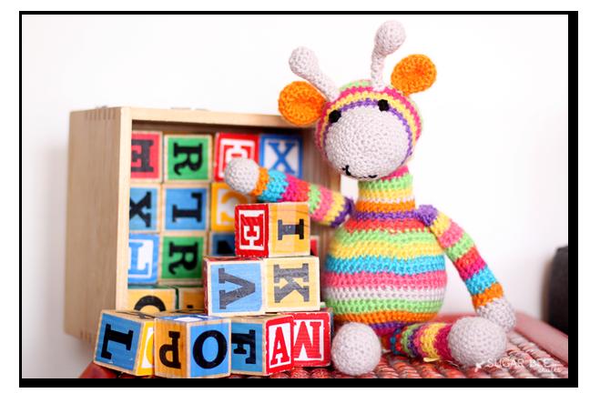 crochet giraffe colorful