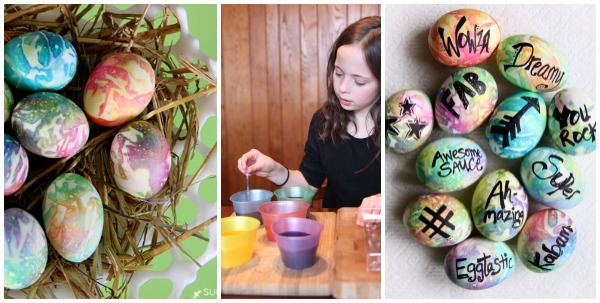 easter egg dyeing with kids