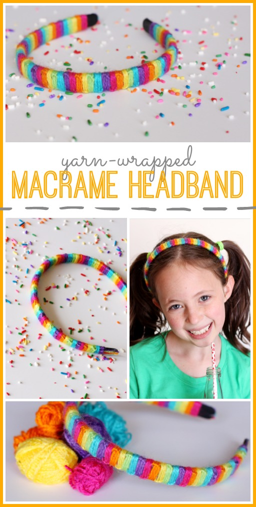 make your own yarn wrapped macrame headband