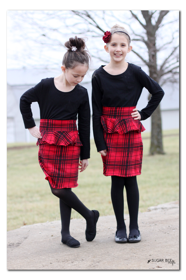 plaid knit peplum skirt