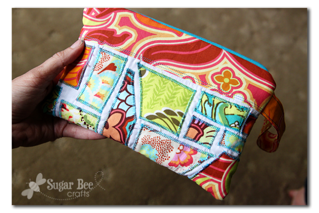 ticker tape scrap fabric pouch