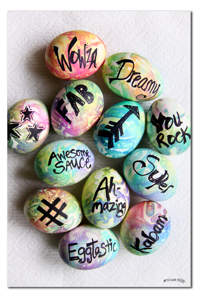 tie dye typography word easter eggs