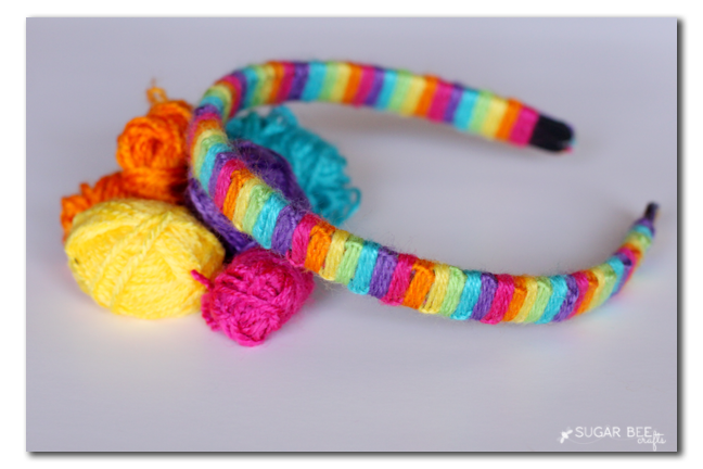 yarn wrapped macrame headband
