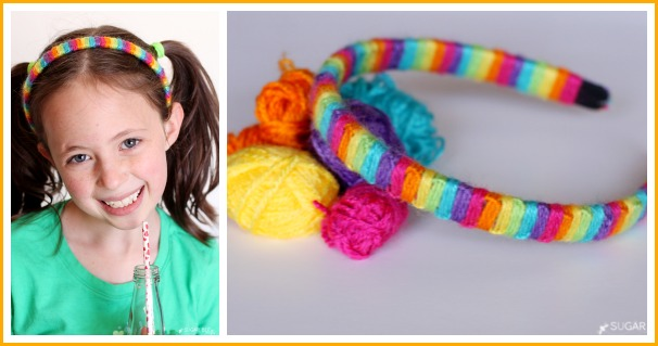 yarn wrapped rainbow headband