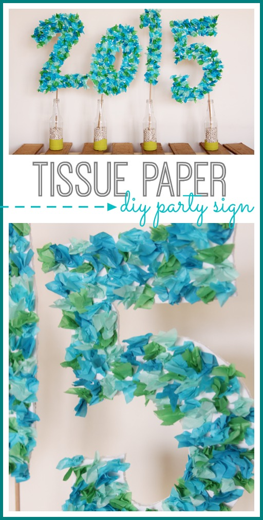 tissue paper party sign that you can make yourself, diy