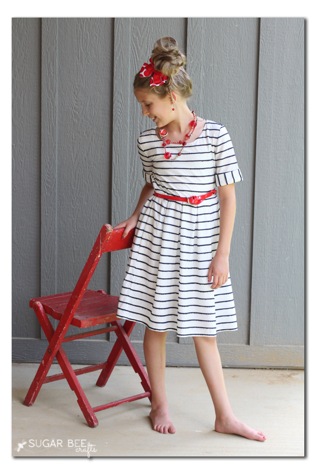 blue white striped diy dress