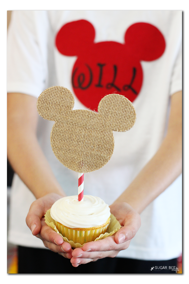 mickey mouse burlap cupcake topper