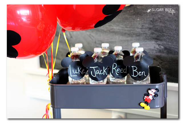 mickey mouse party water bottles