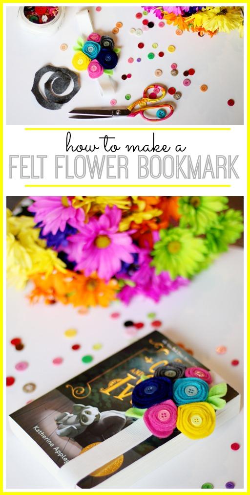 tutorial on how to make a felt flower bookmark