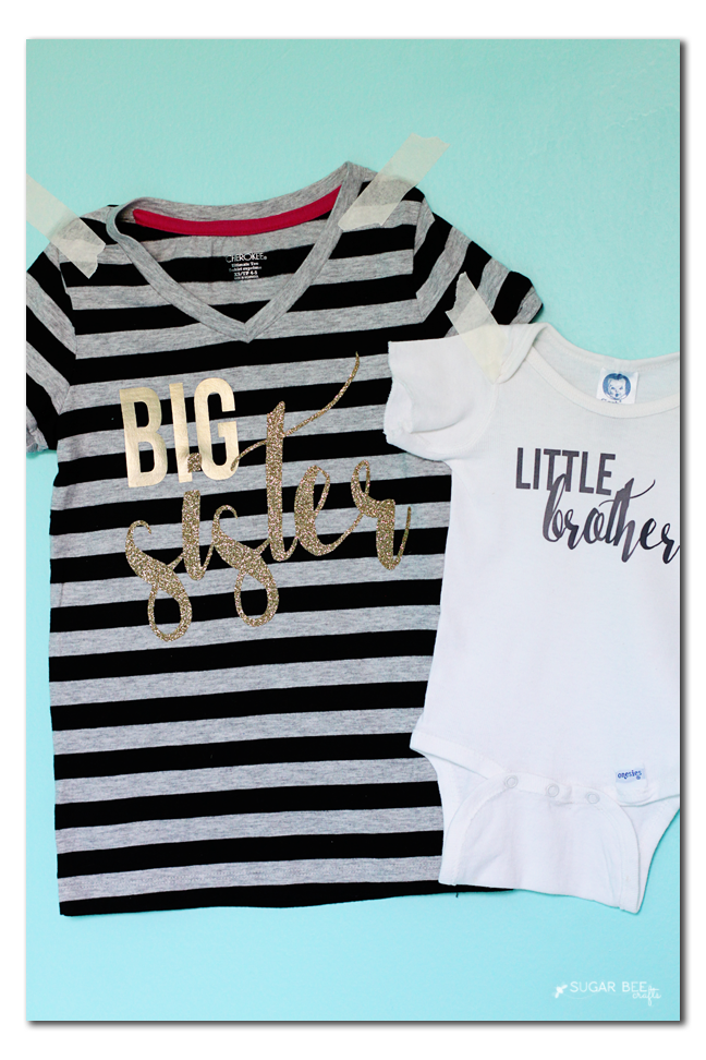 diy new baby sibling shirt