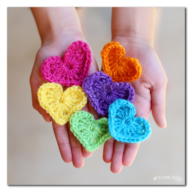 rainbow crocheted hearts