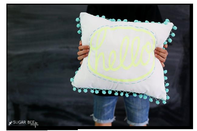 diy pom pom hello pillow