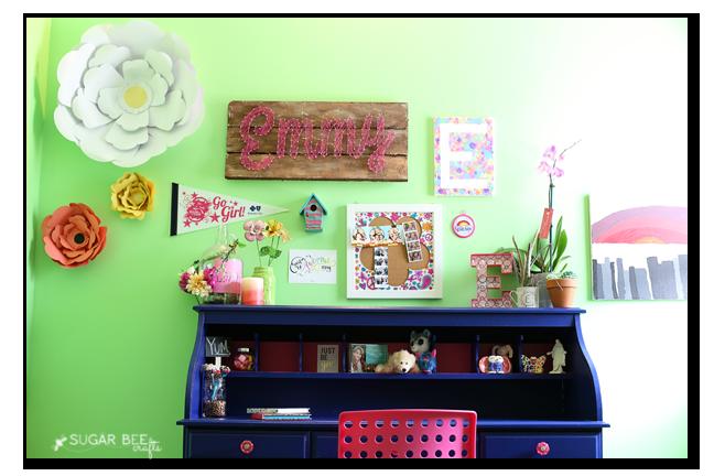 girls tween desk gallery wall